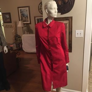 Magaschoni Collection Red Silk and Stones Coat